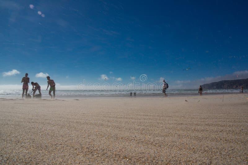 Guincho strandvak som stiger ombord massiv vind royaltyfri foto