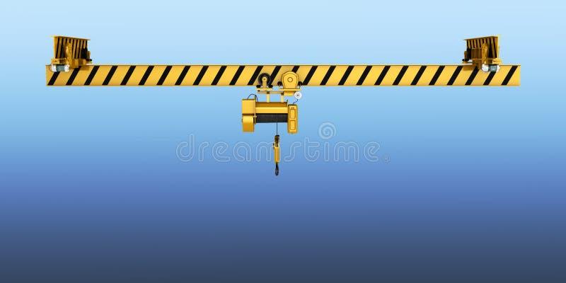 Guindaste aéreo isolado no fundo azul 3d do inclinação ilustração do vetor
