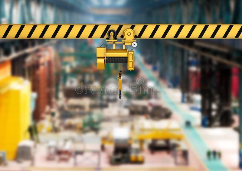 Guindaste aéreo no fundo 3d da fábrica ilustração royalty free