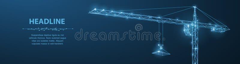 Guindaste Guindaste abstrato do wireframe do vetor em escuro - fundo azul ilustração royalty free