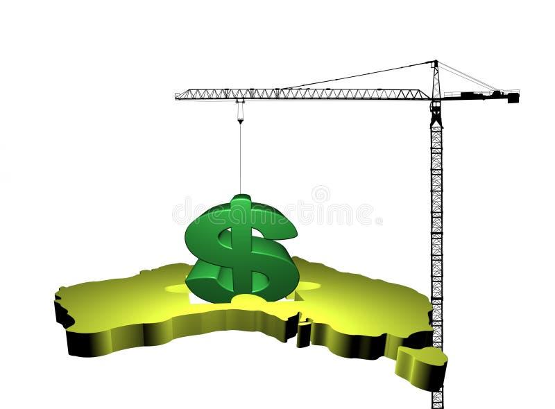 Guindaste com dólar australiano ilustração do vetor