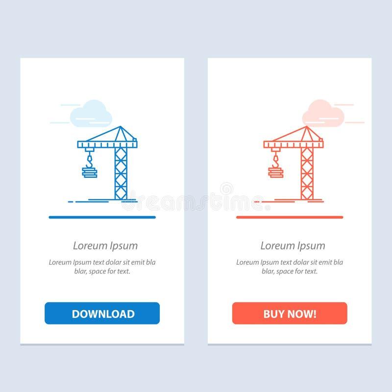 Guindaste, construção, construção, construção, azul da torre e transferência vermelha e para comprar agora o molde do cartão do W ilustração do vetor