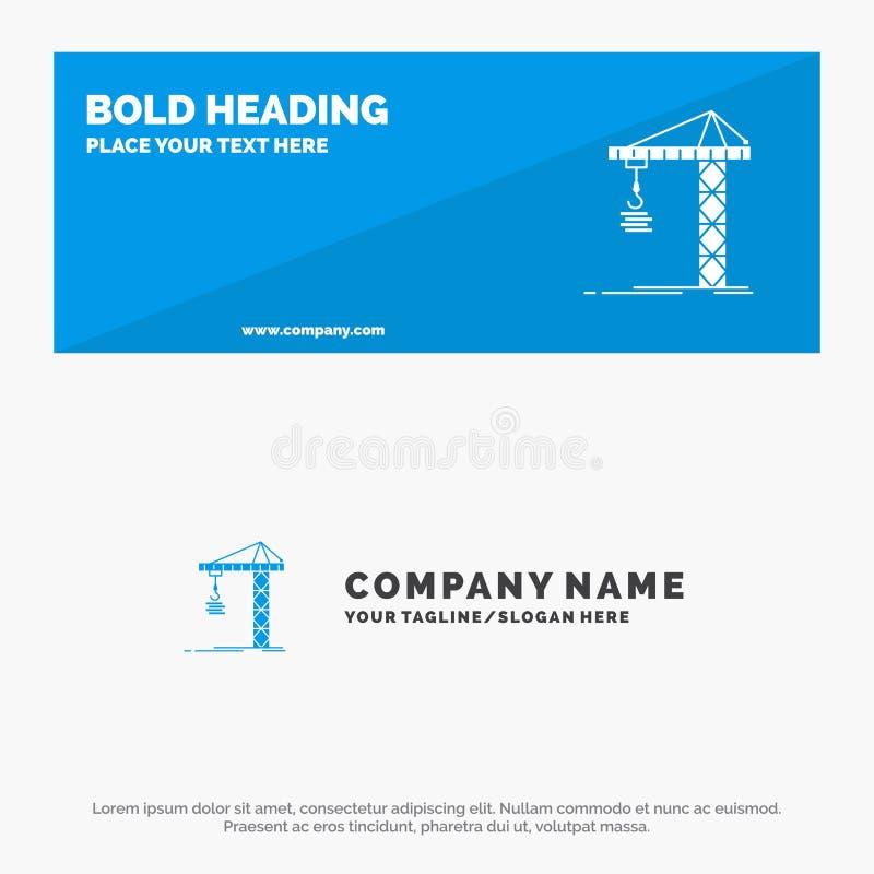 Guindaste, construção, construção, construção, bandeira contínua do Web site do ícone da torre e negócio Logo Template ilustração royalty free