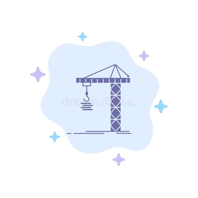 Guindaste, construção, construção, construindo, ícone azul da torre no fundo abstrato da nuvem ilustração royalty free
