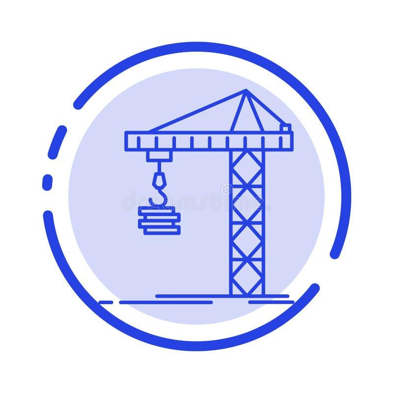 Guindaste, construção, construção, construindo, linha pontilhada azul linha ícone da torre ilustração do vetor