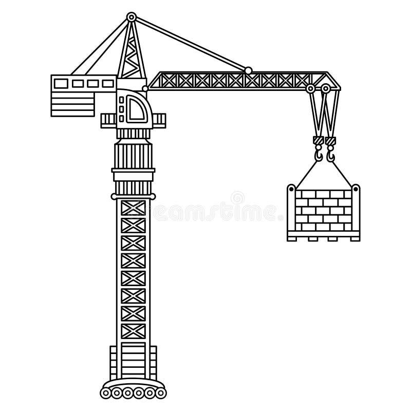 Guindaste de construção do vetor Guindaste do vetor ilustração stock