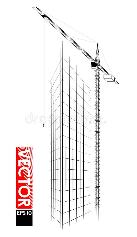 Guindaste de torre alta no canteiro de obras Levantar carrega acima A construção de um prédio Muito detalhado seguido ilustração royalty free