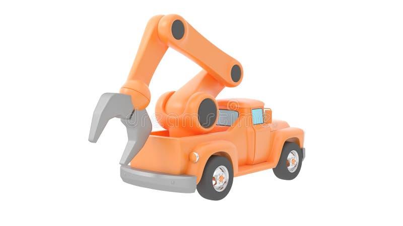 Guindaste do caminhão do brinquedo isolado sobre o backgroung branco ilustração 3D ilustração royalty free