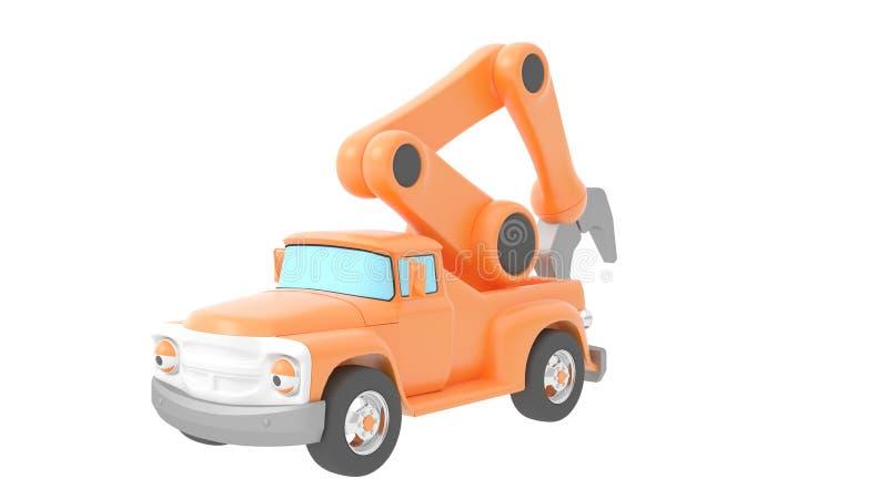 Guindaste do caminhão do brinquedo isolado sobre o backgroung branco rendição 3d ilustração stock