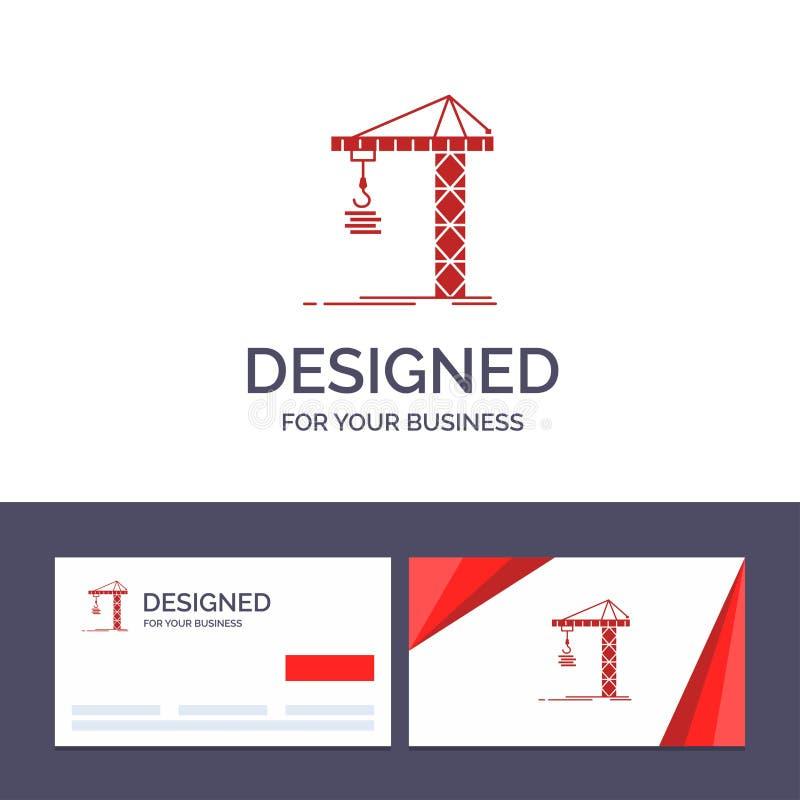 Guindaste do molde criativo do cartão e do logotipo, construção, construção, construindo, ilustração do vetor da torre ilustração royalty free