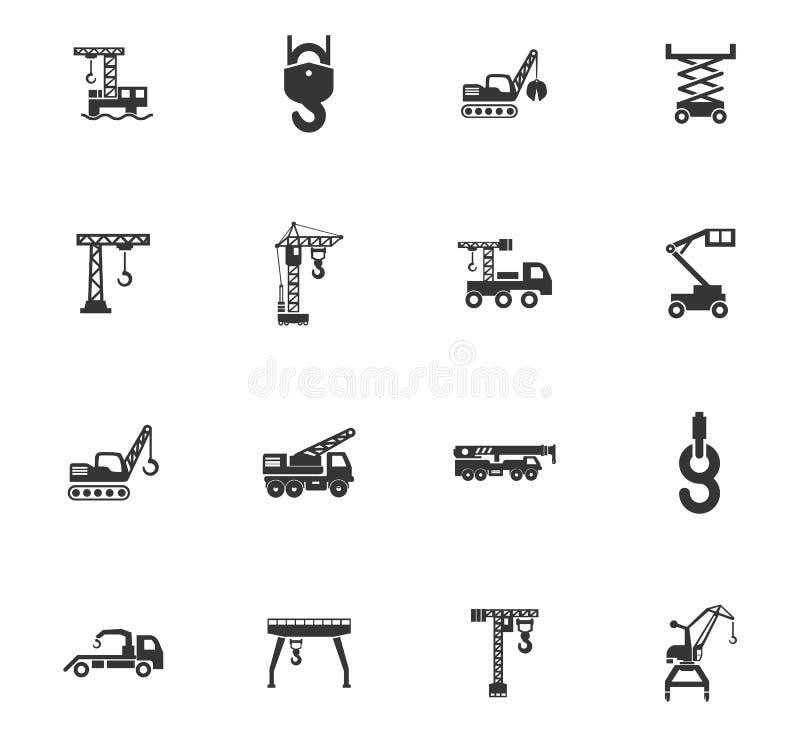 Guindaste e grupo lifing do ícone das máquinas ilustração stock