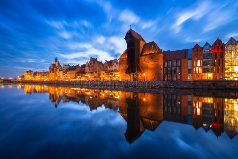 Guindaste histórico do porto em Gdansk, Polônia fotos de stock royalty free