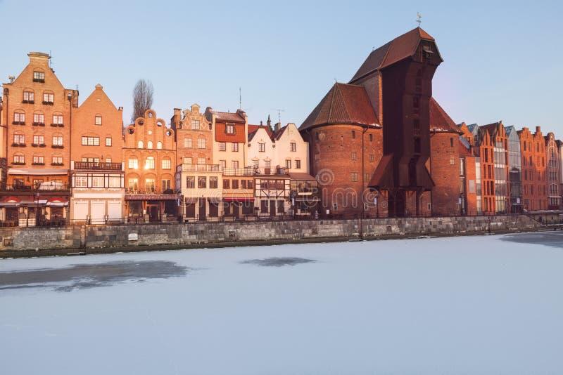 Guindaste histórico em Gdansk imagens de stock