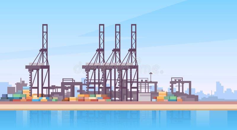 Guindaste industrial do navio de recipiente da logística da carga do porto marítimo ilustração stock
