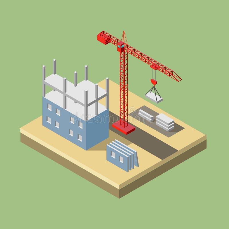 Guindaste industrial isométrico para a construção ilustração do vetor