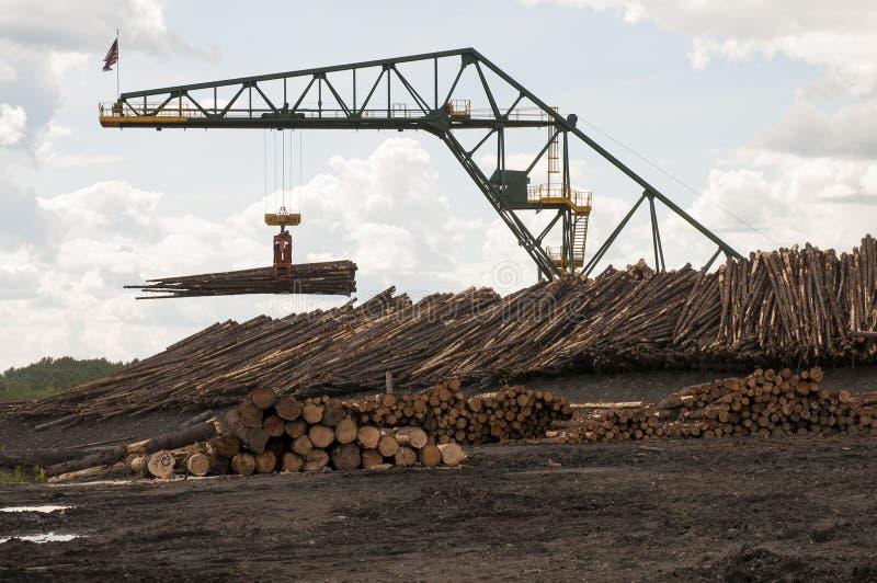 Guindaste movente do log no moinho da madeira serrada foto de stock royalty free