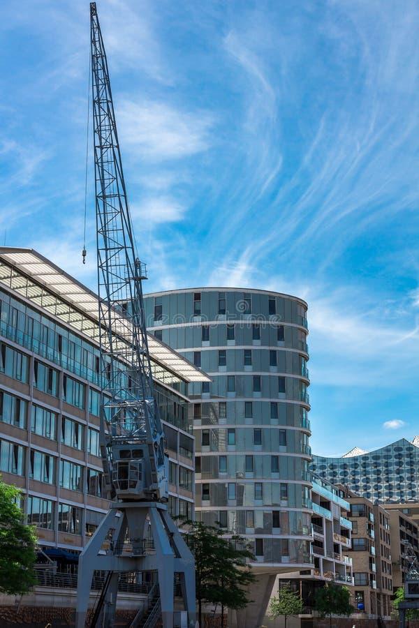 guindaste no Hafencity fotografia de stock royalty free