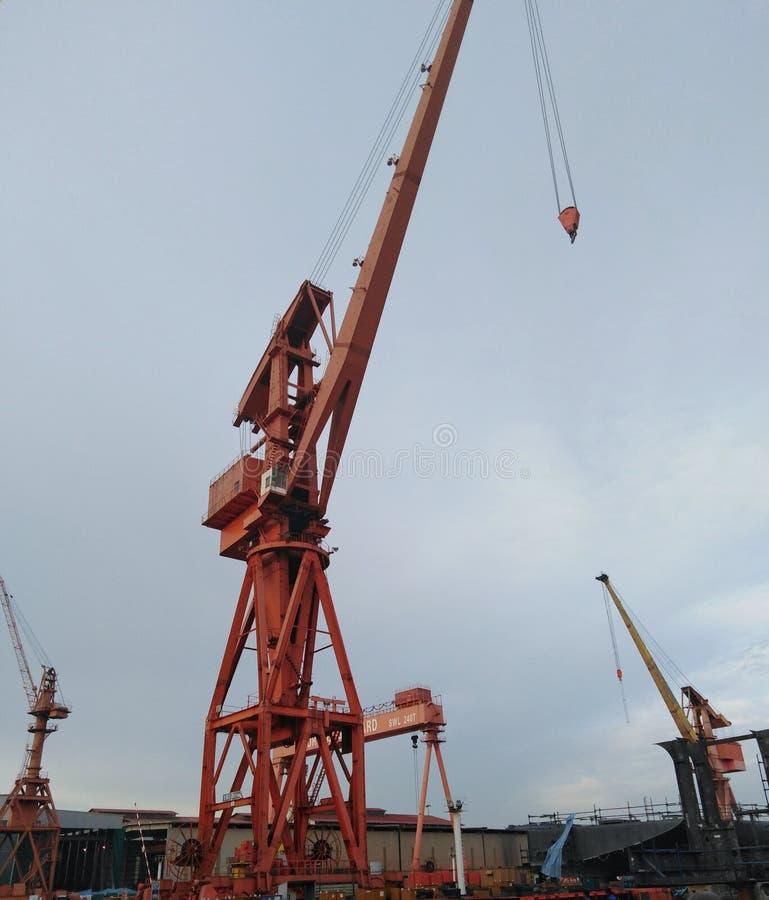 Guindaste para a construção naval foto de stock