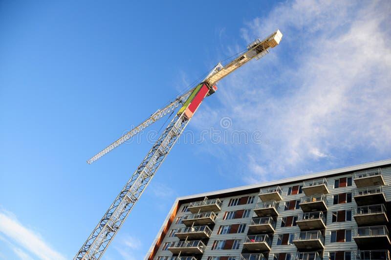 Guindaste, prédio de apartamentos, Canadá fotografia de stock