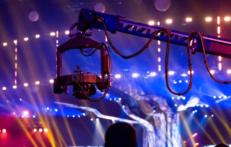 Guindaste telescópico com uma câmara de vídeo unida imagem de stock royalty free