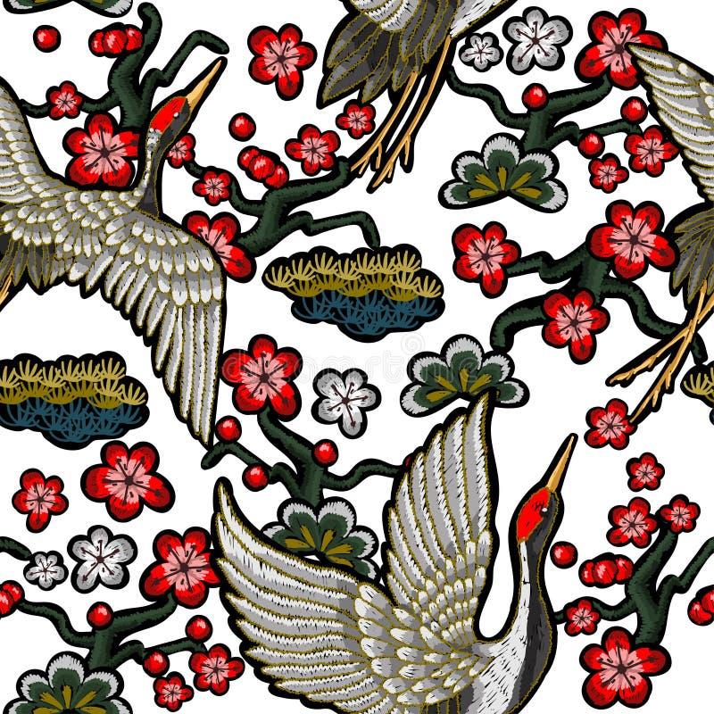 Guindastes brancos japoneses com flores vermelhas ilustração royalty free
