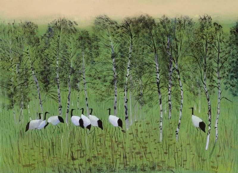 Guindastes no pântano ilustração stock