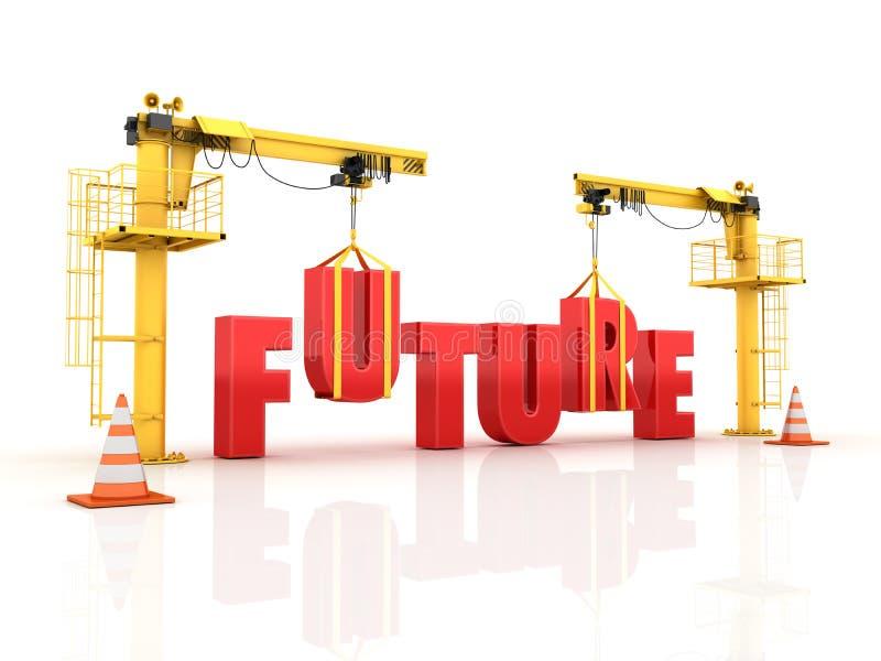 Guindastes que constroem a palavra FUTURA ilustração stock