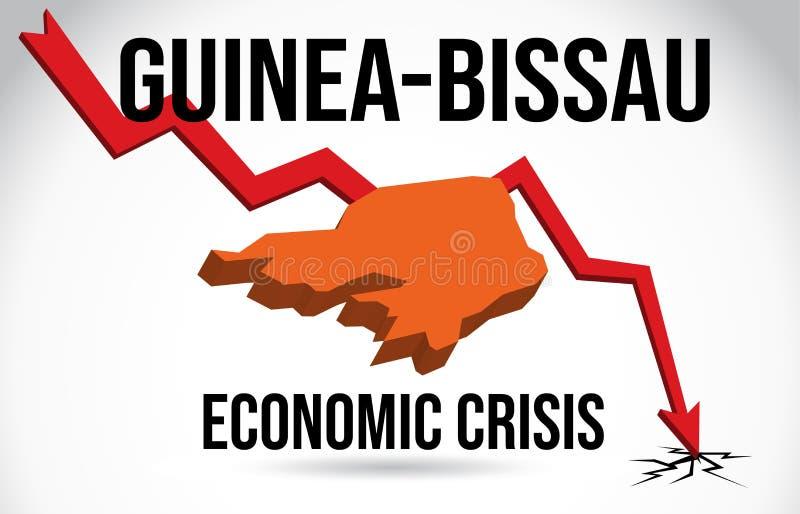 Guinea-Bissau Map Financial Crisis Economic Collapse Market Crash Global Meltdown Vector. Illustration vector illustration