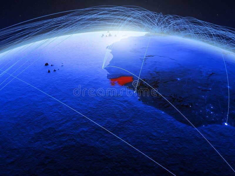 Guinea-Bissau op blauwe digitale aarde met internationaal netwerk die mededeling, reis en verbindingen vertegenwoordigen 3d stock afbeelding
