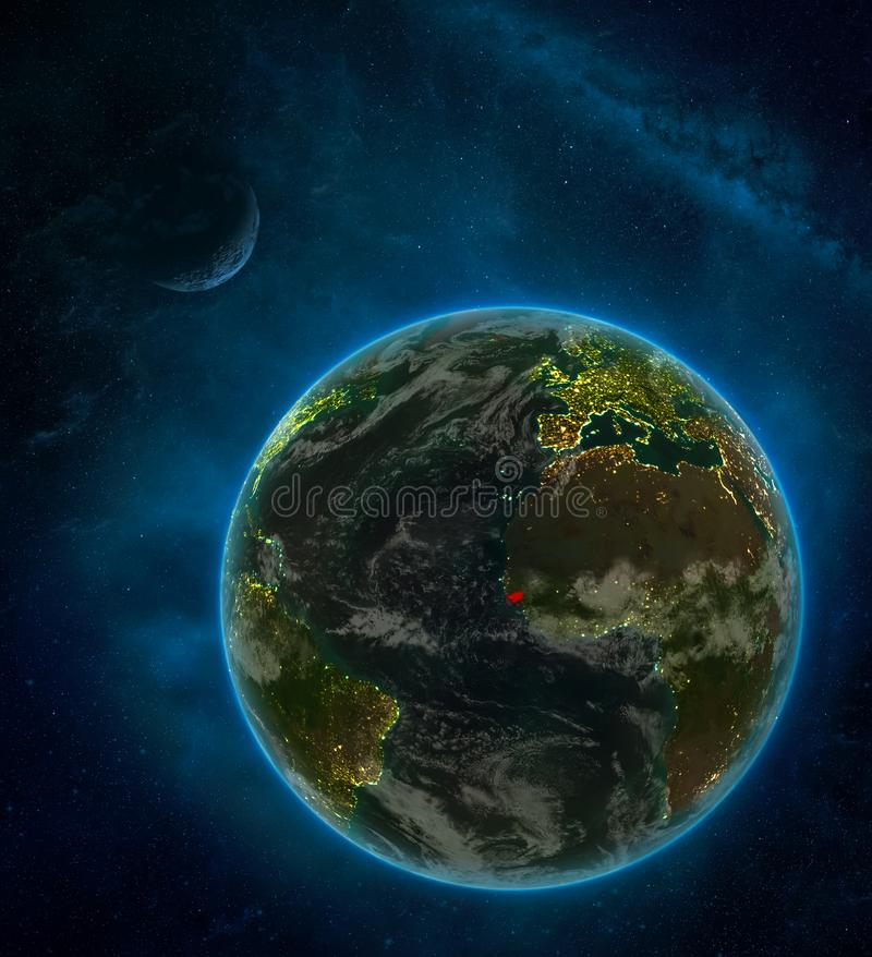 Guinea-Bissau from space on Earth at night surrounded by space with Moon and Milky Way. Detailed planet with city lights and. Clouds. 3D illustration. Elements vector illustration
