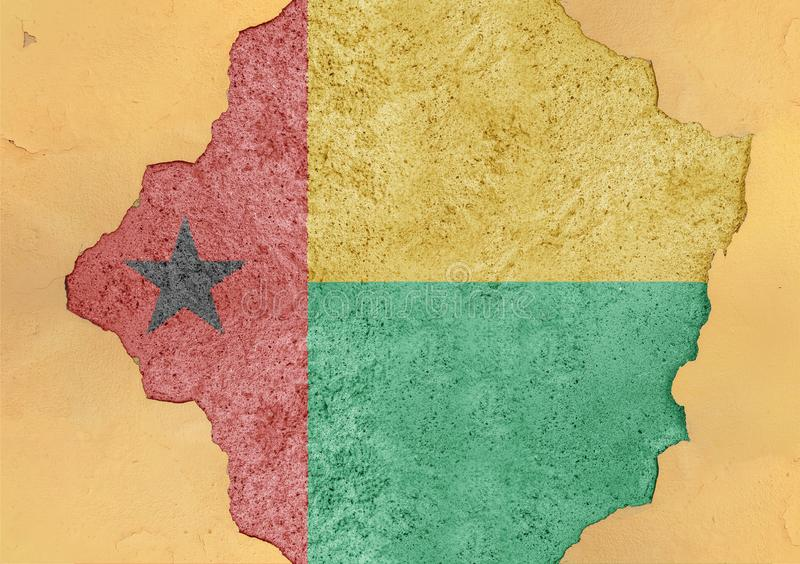 Guinea Bissau state flag broken material facade structure in big hole. Guinea Bissau state flag broken material facade structure in big concrete cracked hole stock photo
