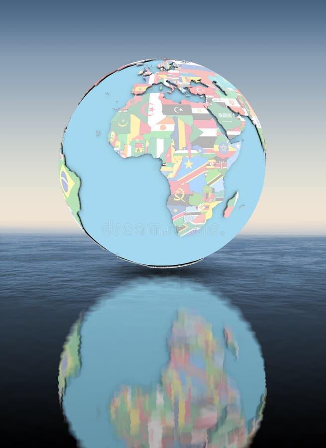 Guinea Ecuatorial en el globo con la superficie por encima de la superficie de las banderas libre illustration