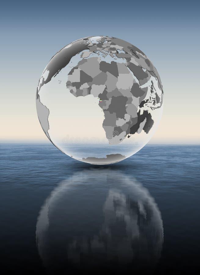 Guinea Ecuatorial en el globo translúcido por encima de la superficie ilustración del vector