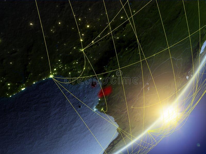 Guinea Ecuatorial en el modelo de la tierra del planeta con la red durante salida del sol Concepto de nueva tecnología, de comuni stock de ilustración