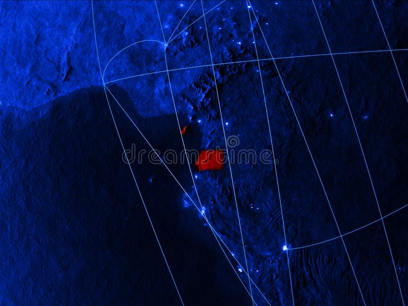 Guinea Ecuatorial en mapa digital azul con las redes Concepto de viaje internacional, de comunicación y de tecnología 3d libre illustration