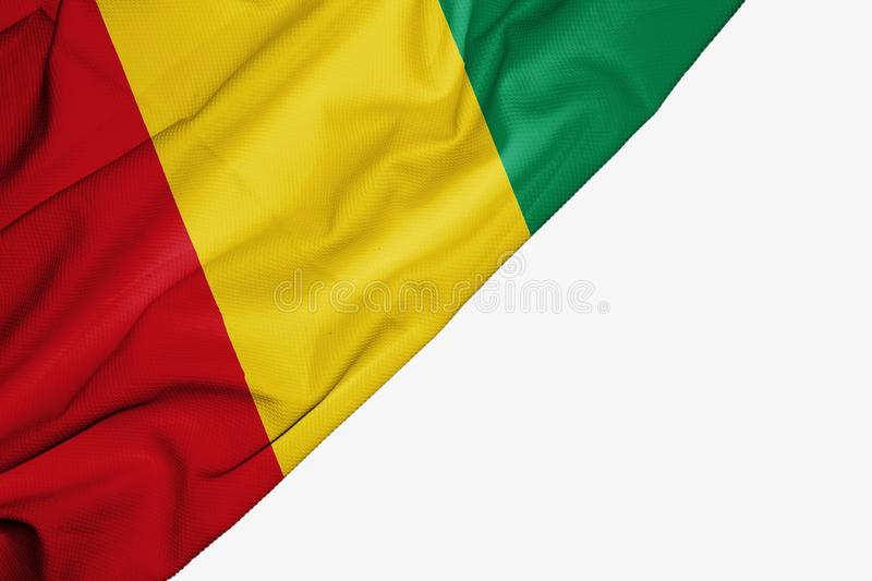 Guinea flag of fabric with copyspace for your text on white background. Africa banner best capital colorful competition country ensign free freedom glory vector illustration
