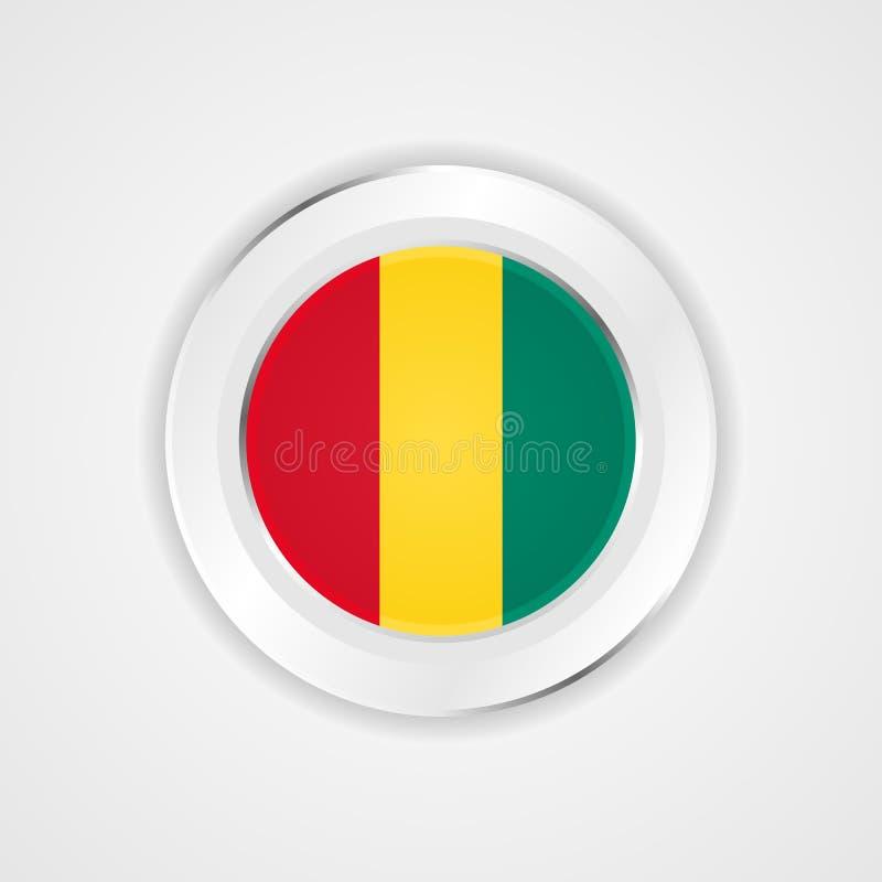 Guinea flagga i glansig symbol stock illustrationer
