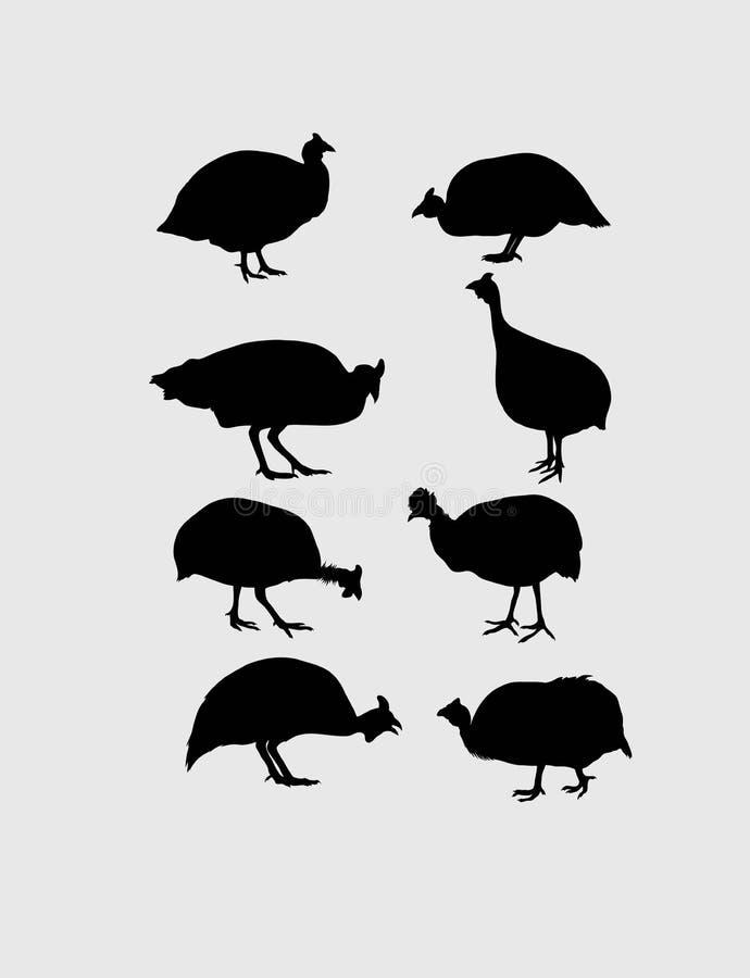 Guinea Fowl Silhouettes. Art vector design royalty free illustration