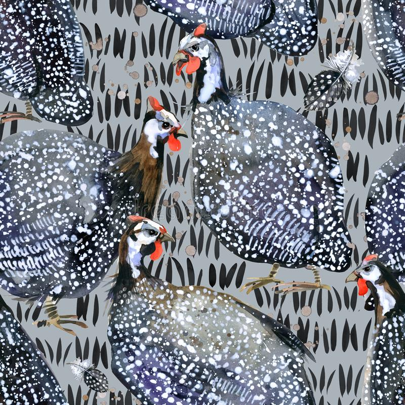 Free Guinea Fowl. Wild Bird Watercolor Seamless Pattern. Royalty Free Stock Photography - 108835117