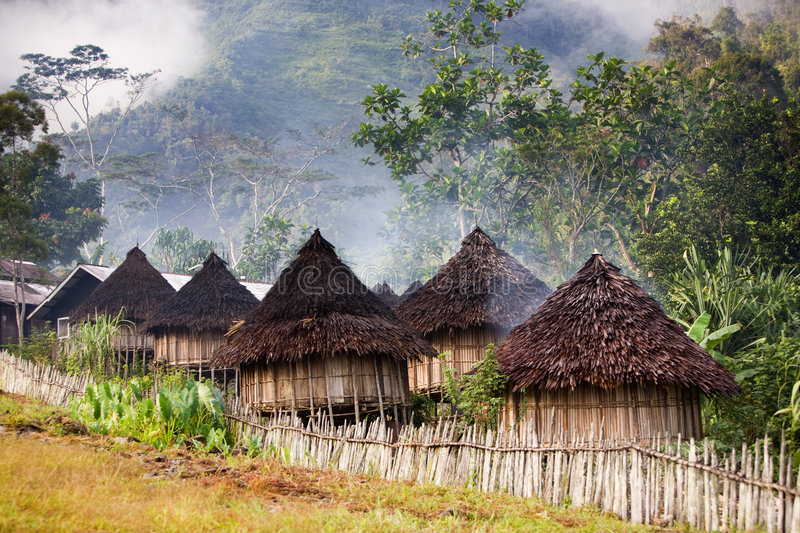 Guinea new. A traditional mountain village in Papua, Indonesia stock photos