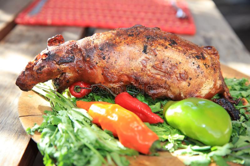 Guinea Pig roasted - traditional Meal in Peru stock photos