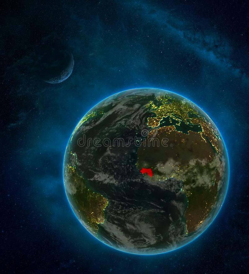 Guinea from space on Earth at night surrounded by space with Moon and Milky Way. Detailed planet with city lights and clouds. 3D. Illustration. Elements of this stock illustration