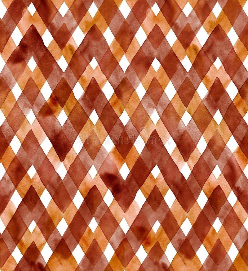 Guingan d'aquarelle de couleurs foncées de café sur le fond blanc Modèle sans couture pour le tissu illustration stock