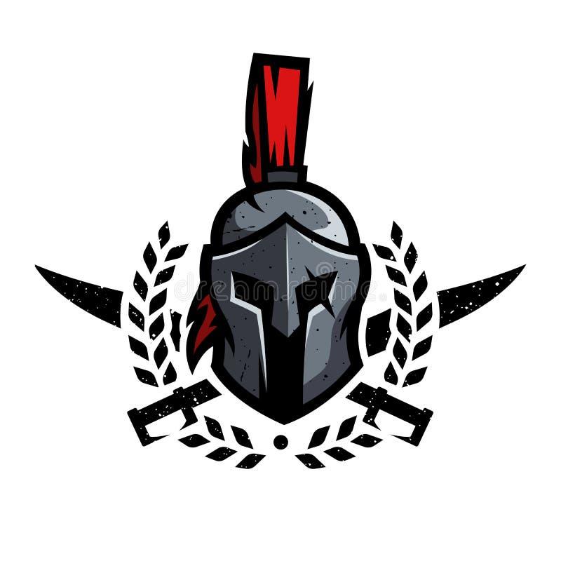 Guirlande, épées et casque du guerrier spartiate illustration libre de droits