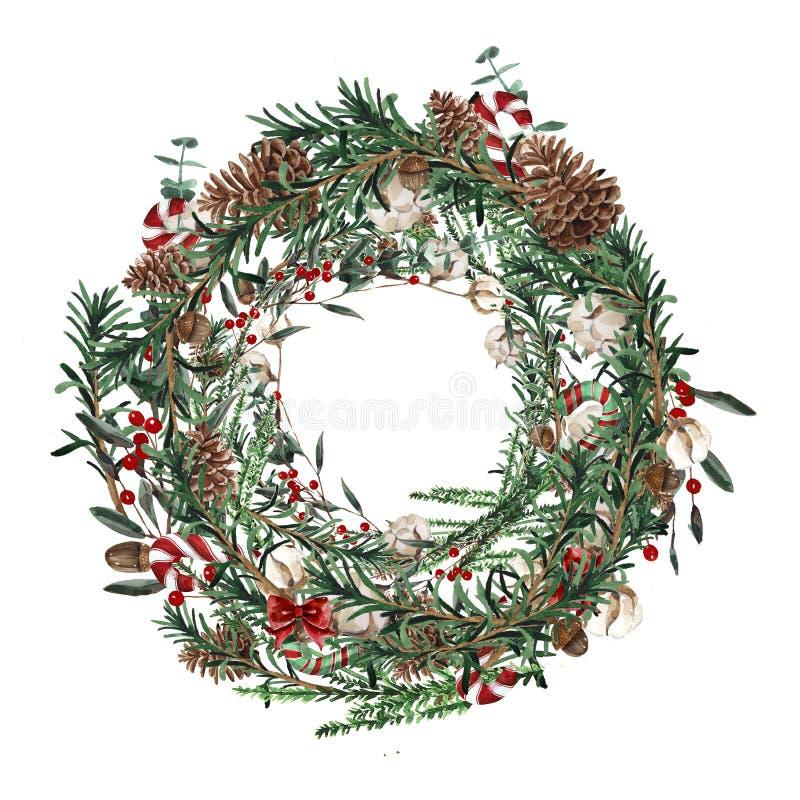 Guirlande avec des branches de pin et des baies, coton et des cônes rouges de pin Cadre rond pour les cartes de Noël et l'illustr illustration libre de droits
