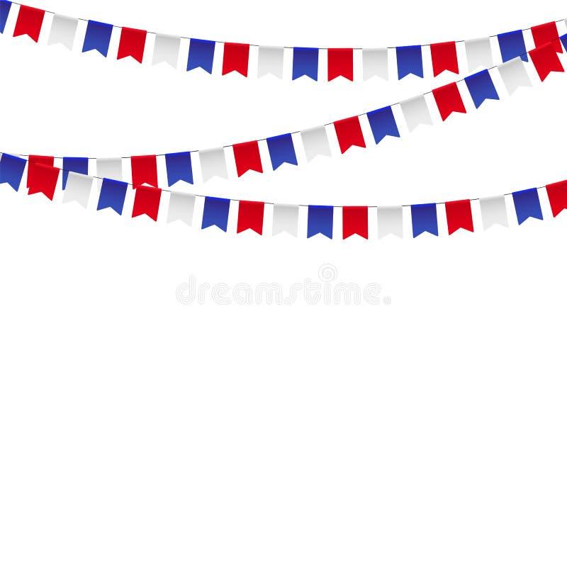 Guirlande avec des drapeaux de célébration, blanc, bleu, fanions rouges sur un fond blanc illustration stock