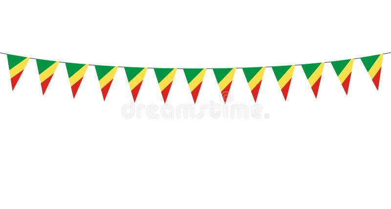 Guirlande avec des fanions de république du Congo sur le fond blanc illustration libre de droits