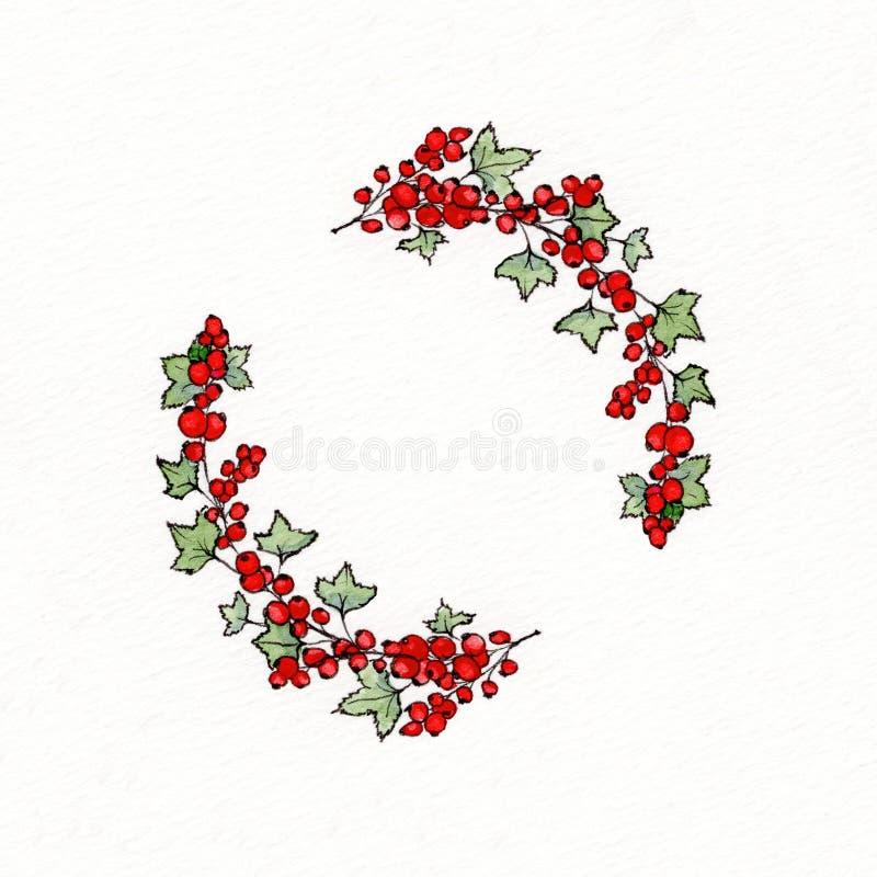 Guirlande avec des feuilles et des groseilles rouges de graphique image stock