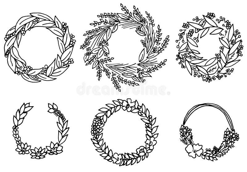 Guirlande avec des fleurs Ensemble de vecteur Collection florale mignonne, aquarelle tirée par la main cartes de voeux de mariage image libre de droits