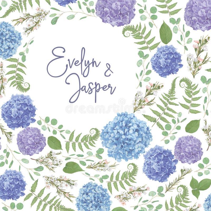 Guirlande avec des fleurs et des feuilles d'isolement sur le fond blanc feuilles, eucalyptus de branches, gaultheria, salal, cham illustration libre de droits